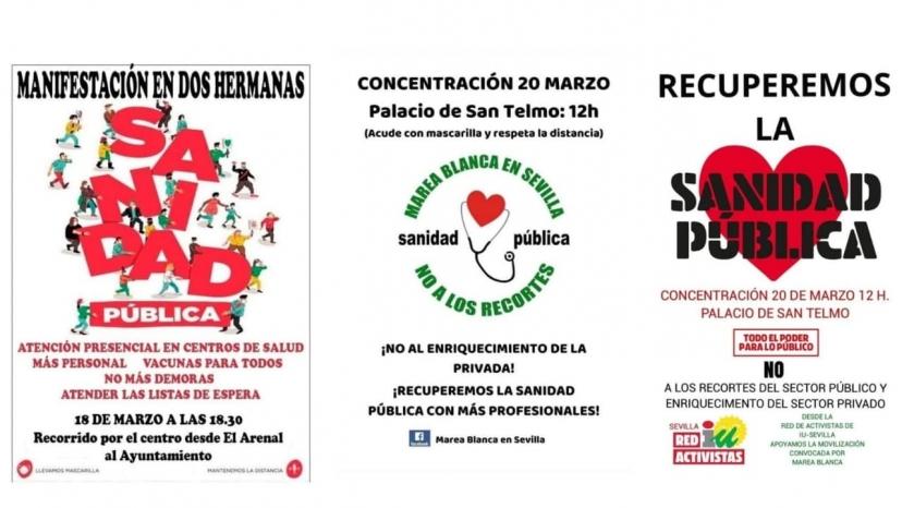 Apoyamos las movilizaciones en defensa de la sanidad pública que se celebran esta semana en Dos Hermanas y Sevilla