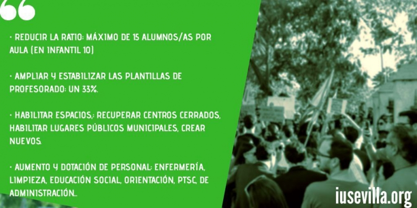 IU Sevilla apoya las movilizaciones de la comunidad educativa y presentará mociones en los ayuntamientos para exigir una vuelta al cole segura
