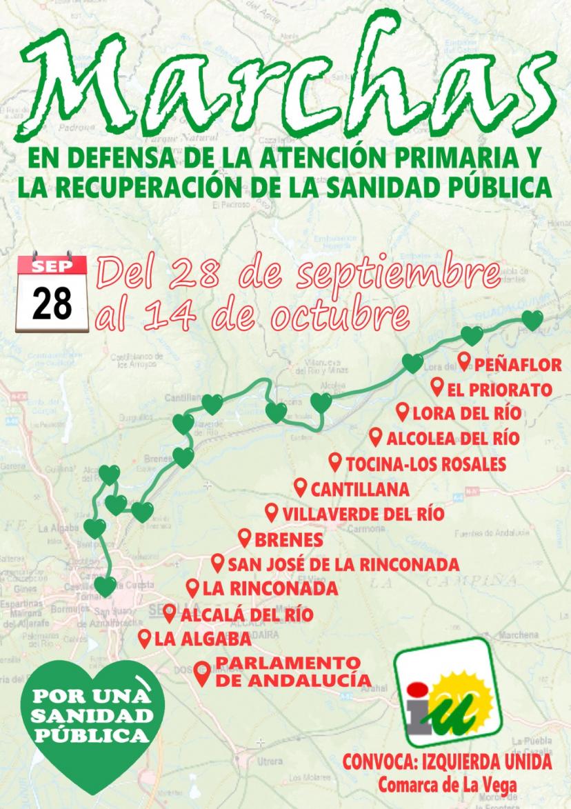 Marcha por la Sanidad Pública de las asambleas locales de IU en la comarca La Vega