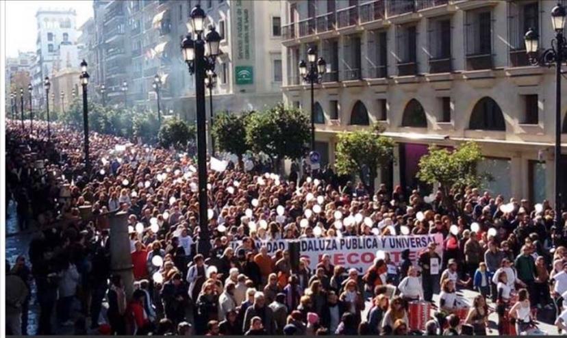 IU Sevilla hace un llamamiento a militantes y simpatizantes para acudir masivamente a la manifestación convocada por Marea Blanca para el 26 de enero