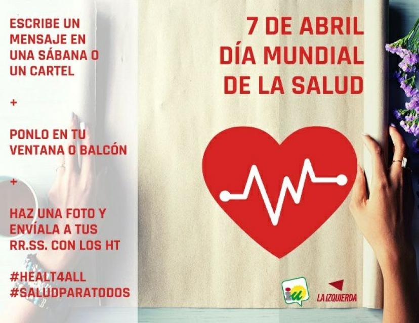 Apoyamos la convocatoria 'La Sanidad Pública no se vende, se defiende' para el Día Mundial de la Salud